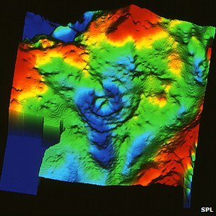 Gravity map of Chicxulub crater, Yucatan Peninsula   Mark Pilkington/Geological Survey of Canada/SPL