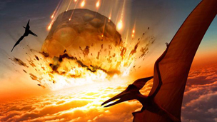 Artwork depicting the asteroid impact that may have wiped out the dinosaurs
