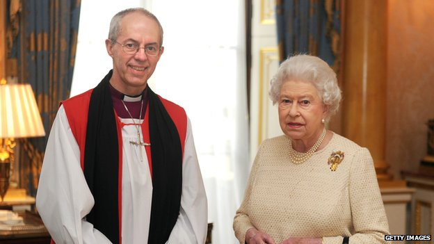 The Archbishop of Canterbury Justin Welby and Queen Elizabeth II
