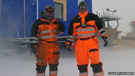 Two expedition members in a snowstorm