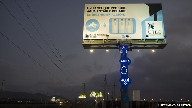 Billboard turns air into water