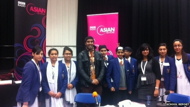 Guru Nanak Sikh Academy team with Nihal from the BBC Asian Network