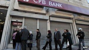 queue outside a bank in Nicosia