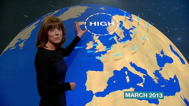 Louise Lear in the weather studio