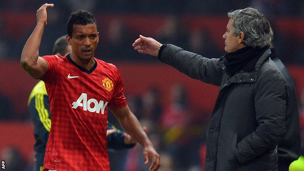Nani (left) walks past Real Madrid manager Jose Mourinho after his dismissal
