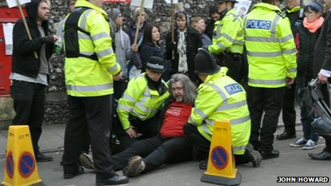 Jonathan Elliott being arrested