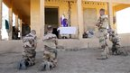 French soldiers attend a mass on 15 March 2013 at the Tessalit camp in northern  Mali