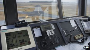 An airport runway seen from an air traffic control tower, Salisbury Maryland, 21 March 2013