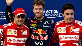 Felipe Massa, Sebastian Vettel and Fernando Alonso