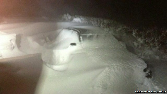 Car part-buried in snowdrift
