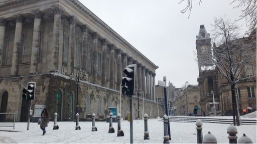 Birmingham Town Hall in the snow