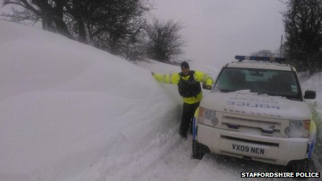 Snow on Staffordshire moorlands