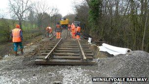 Work on the landslip