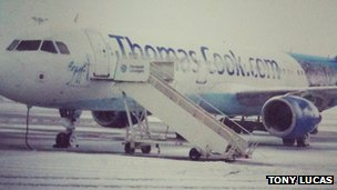 Aircraft in snow at East Midlands Airport