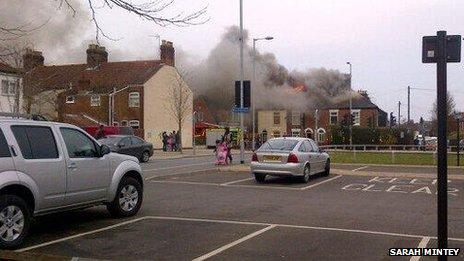 Fire scene on Magpie Road, Norwich