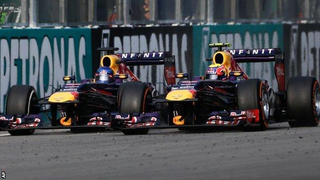 Sebastian Vettel (left) and Mark Webber