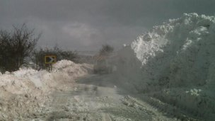 Heavy snow on road in Northern Ireland