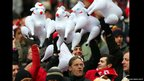 Wrexham fans with inflatable sheep at Wembley