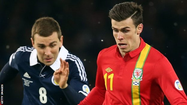 Gareth Bale in action against Scotland