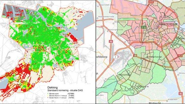 Map of Amsterdam displaying individual risk profiles