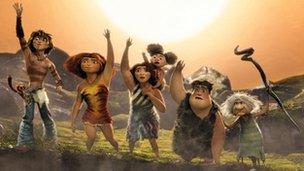 The cartoon cast of The Croods