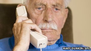 elderly man on the phone