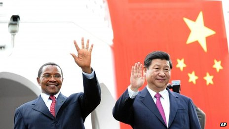 Chinese leader Xi Jinping and Tanzanian President Jakaya Kikwete have signed various trade agreements