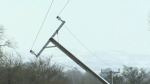 Fallen electricity pole