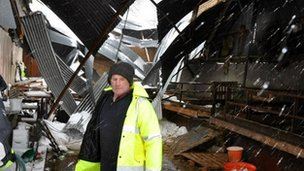 James McHenry in the shed where sheep were killed when the roof collapsed