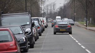Cars parked on Bristol Downs