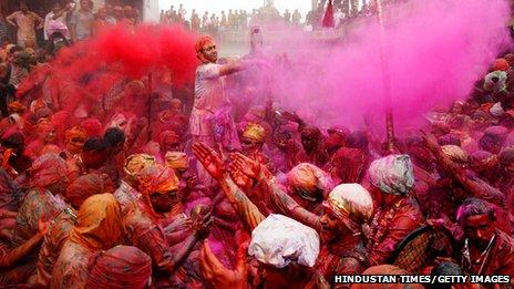 Revellers celebrating Holi