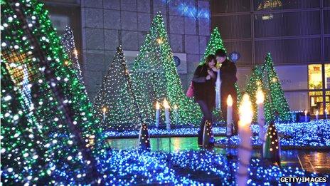 Japanese shopping centre Christmas lights