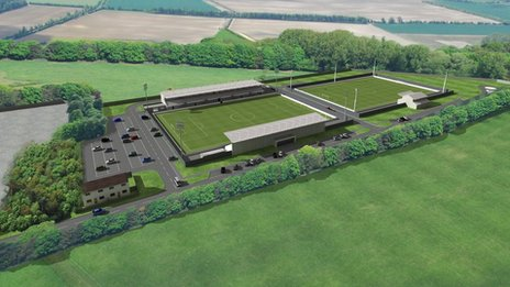 Artist's impression of Cambridge City FC's stadium, Sawston