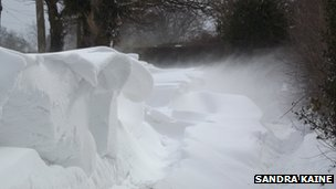Snow drifts in Moss Lane