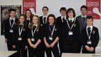 Exmouth Community College students pose with their School Report lanyards