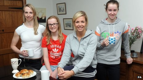 Becky James (centre) with her sisters (left to right) Rachel, 24, Megan, 13 and Ffion, 15, at home in Abergavenny