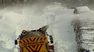 Snow being cleared from a road