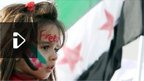 Syrian girl protesting