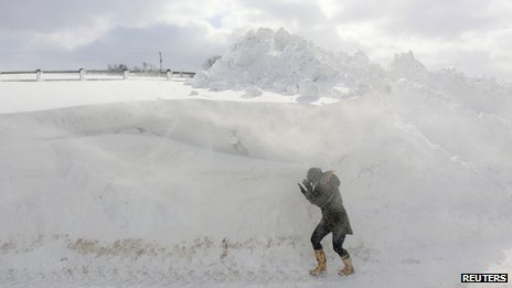 Woman fights blizzard on Cushendall Road