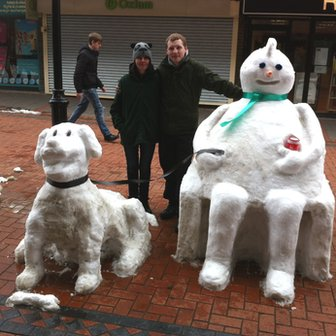Snow sculpture in Wrexham