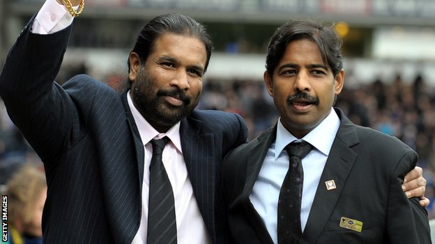 Blackburn Rovers owners Balaji Rao (l) and Venkatesh Rao