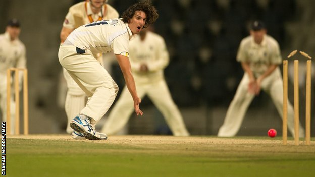 Warwickshire paceman Chris Wright in Abu Dhabi