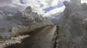 Snow drifts on Arran