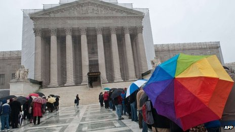 People wait outside the Supreme Court waiting for a seat at a same-sex marriage hearing, Washington DC on 25 March 2013