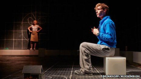 NIAMH CUSACK as Siobhan and LUKE TREADAWAY as Christopher Boone in Curious Incident