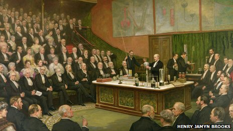 Painting of Sir James Dewar lecturing at the Royal Institution