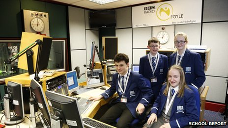 School Reporters in the Radio Foyle studio