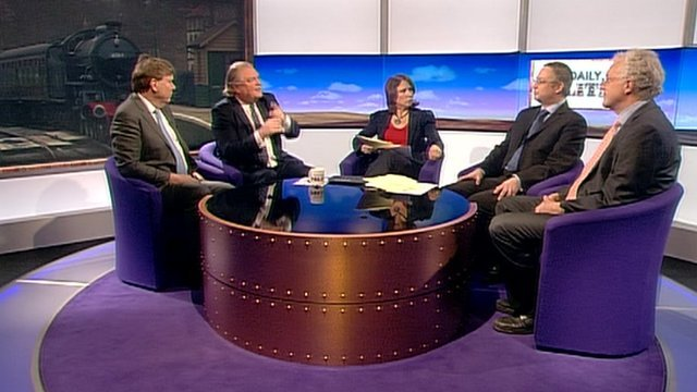 Simon Burns, Lord Digby Jones, Jo Coburn , Richard Wellings and Christian Wolmar