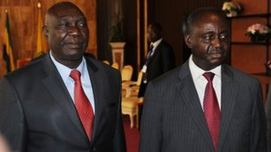 Michel Djotodia (L) and Francois Bozize (R) on 11 January 2013