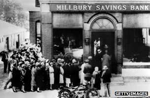 A bank run in 1929 at the Millbury Savings Bank in Massachusetts